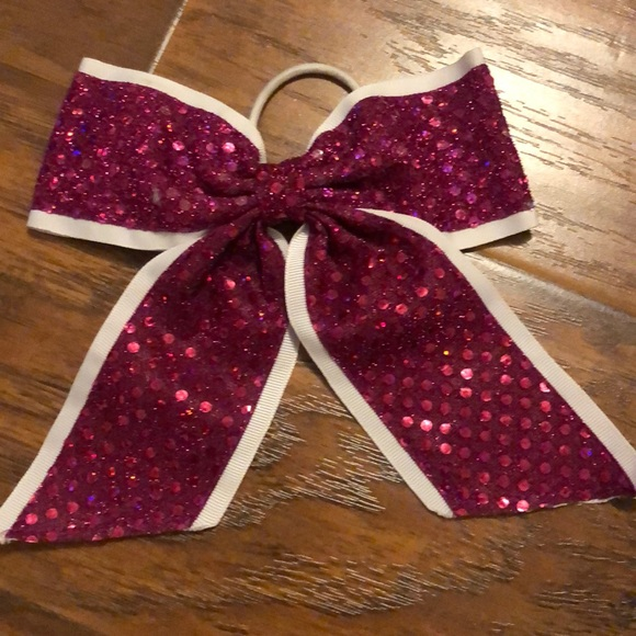 Claire's Accessories - Pink and white glitter cheerleading bow